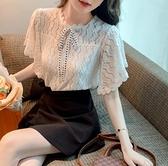 法式蕾絲白色襯衫女設計感小眾襯衣雪紡衫上衣3206NB32-C紅粉佳人