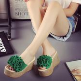 拖鞋女夏時尚性感花朵韓版松糕坡跟外穿防滑厚底超高跟 DN7122【歐爸生活館】