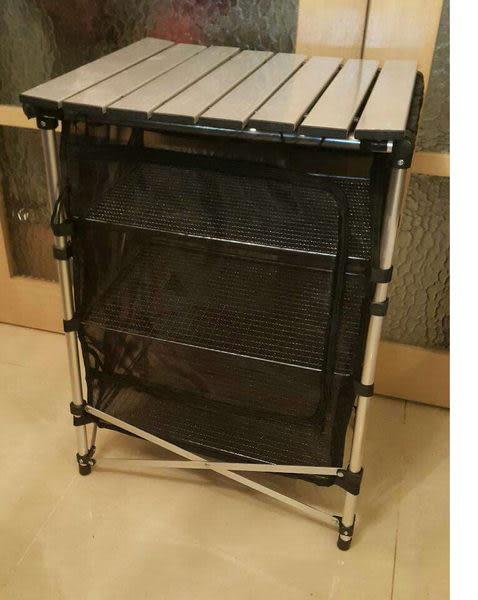 韓國爆款鋁合金折疊三層碗櫥桌鋁管網籃組便攜式燒烤野營戶外桌置物網料理桌
