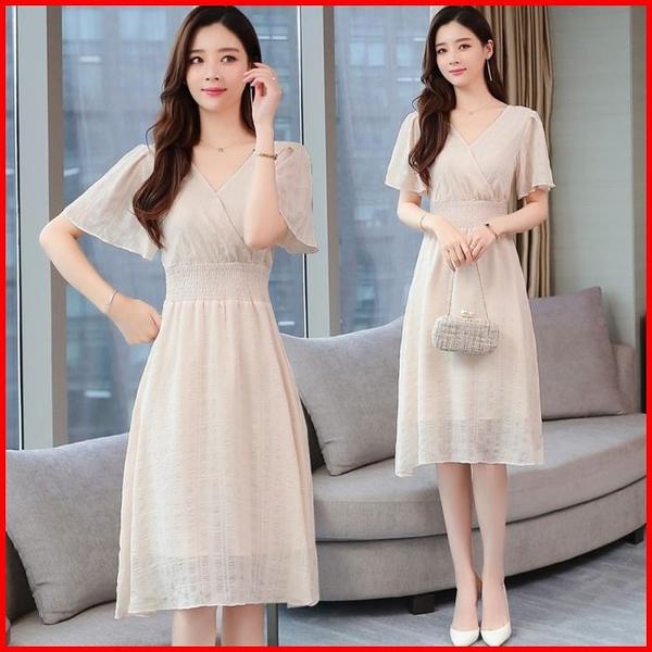 韓國風短袖洋裝 夏季新款女裝連衣裙甜美連身裙 依多多