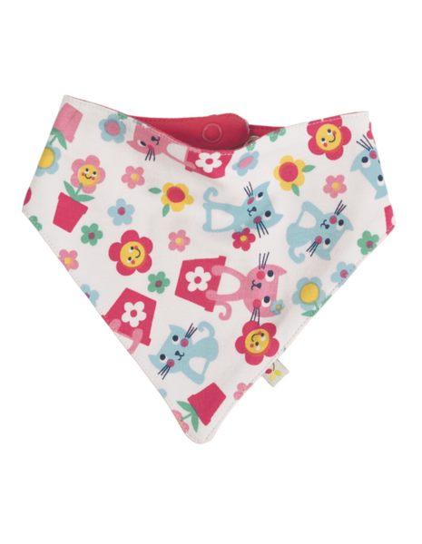 【英國Frugi】有機棉童趣圍兜 / 口水巾 / 三角造型領巾 - 貓咪好朋友 ACS603LCFOS