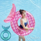 透明 美人魚泳圈 人魚尾泳圈 魚尾巴 90CM 游泳圈 浮排 漂浮 水上椅子 充氣浮床 拍照道具 成人泳圈