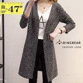長版外套--典雅大方簡約風寬鬆修身加長開衩毛線針織薄外套(灰L-3L)-J235眼圈熊中大尺碼