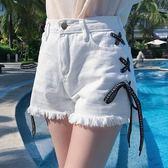 個性繫帶毛邊牛仔短褲高腰顯瘦休閒闊腿褲熱褲女學生    琉璃美衣