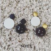 耳環 歐美設計款球形AB款不對稱黑白色耳環【1DDE0502】