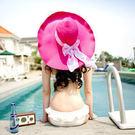 N2i 帽子 韓法式浪漫遮陽大草帽(西瓜紅)