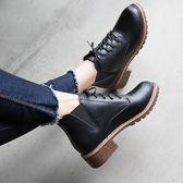 馬丁靴女短靴學生英倫風復古百搭休閒女鞋機車靴子【巴黎世家】