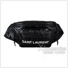 YSL Saint Laurent Nuxx白字LOGO拋光設計尼龍胸腰包(黑)