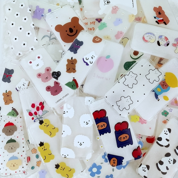 超值福袋 隨機 2 個 韓國插畫款 iPhone 全型號 蘋果透明手機殼 泫雅花 軟糖熊