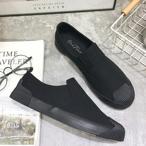 雙十二狂歡購春季帆布鞋男士一腳蹬懶人鞋純黑色工作布鞋男鞋休閒鞋貝殼頭潮鞋 熊貓本