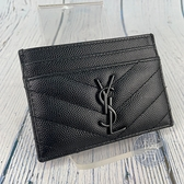 BRAND楓月 Saint Laurent YSL 423291 黑色 LOGO字樣 卡夾 卡包 信用卡夾