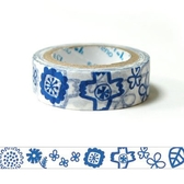 Shinzi Katoh 加藤真治 紙膠帶15mm 小藍花_ZI02365