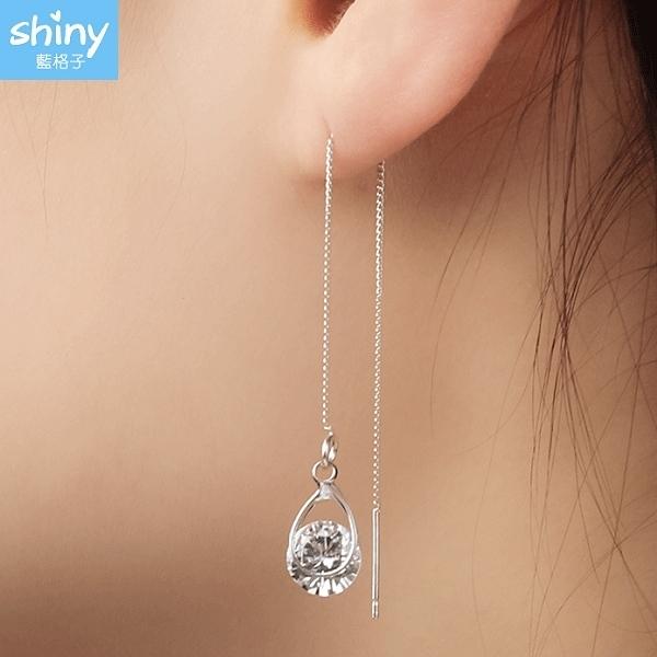 【32A77】shiny藍格子-氣質甜美.鑽石水滴流蘇墜式耳環