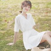 沙灘裙 帛卡琪2020夏季新款V領收腰中裙蕾絲鉤花短袖連衣裙仙女沙灘裙子 交換禮物