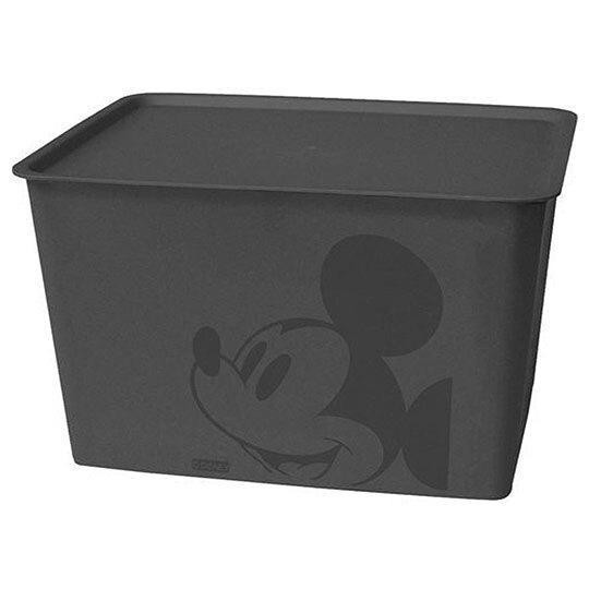 小禮堂 迪士尼 米奇 日製 方形塑膠拿蓋收納箱 玩具箱 衣物箱 17L (L 黑 大臉) 4904121-34341