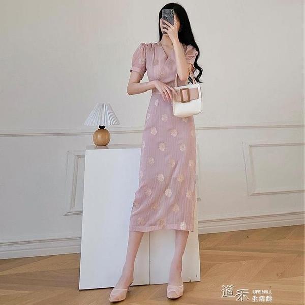 御姐風裙子新款2021年氣質名媛V領法式洋裝女夏收腰顯瘦印花裙 道禾
