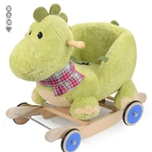 藍色城堡兒童小木馬實木搖馬玩具一歲寶寶玩具周歲禮物嬰兒搖搖車12069[黑色妹妹]