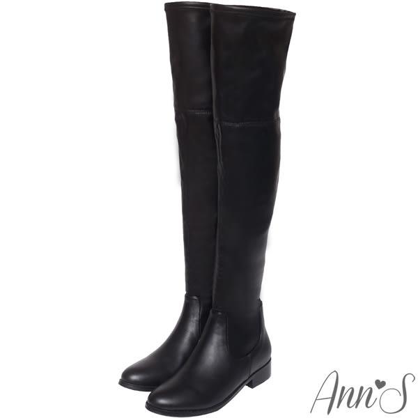 Ann'S貼腿激瘦-全素面平底羊紋彈力側拉鍊過膝靴-黑