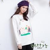 betty's貝蒂思 圓領貓咪印花刷毛長袖T-shirt(白色)