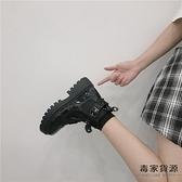 短靴女單靴英倫風鞋子春秋厚底機車馬丁靴潮【毒家貨源】