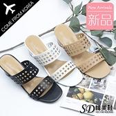 韓國空運 時尚鏤空洞洞設計 顯瘦增高 6.5CM粗跟涼拖鞋【F713275】版型偏小/SD韓美鞋