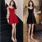 洋裝晚禮服裙女免運新品宴會冬裝短款連衣裙顯瘦年會黑色