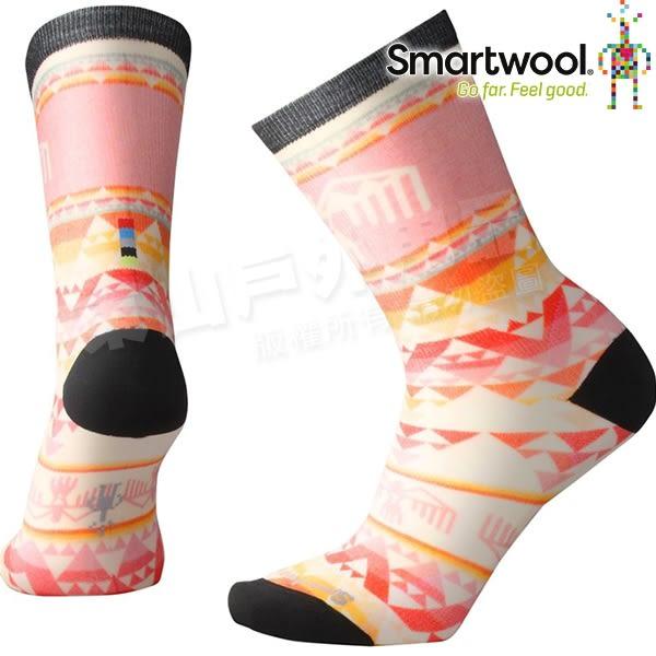 Smartwool Curated SW003822-494珊瑚橘 女印花輕薄中長襪 美麗諾羊毛襪/機能排汗襪