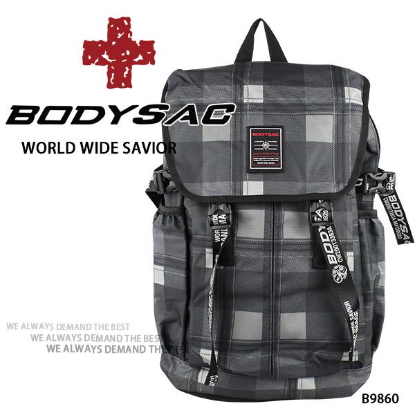 灰色格機能耐磨後背包  AMINAH~【BODYSAC B9860】