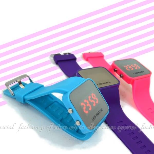 【DQ230】LED鏡面錶 時尚手環錶 個性矽膠手錶帶 手環手錶運動錶★EZGO商城★