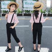 童裝女童夏裝大尺碼新款韓版時髦套裝中大童兒童潮衣女孩洋氣兩件套 qf5050【黑色妹妹】