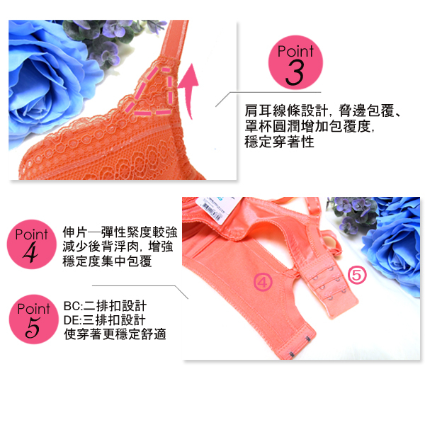 思薇爾-幾何花系列B-E罩蕾絲包覆內衣(炙熱橘)