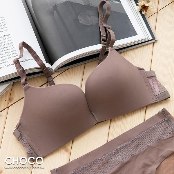 Choco Shop-艾曼達手札‧前扣無鋼圈舒適無痕托高親膚內衣(咖啡色) 70B~85D