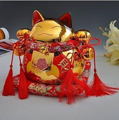 金色亮光招財貓擺件 開業大號【藍星居家】
