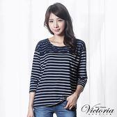 Victoria 蕾絲拼接落肩七分袖T-女-藍底白條