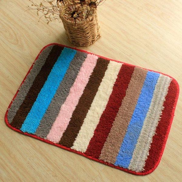 浴室地墊廚房推門墊地墊吸水地墊細纖維TPR環保彩條地毯 享家生活馆 igo