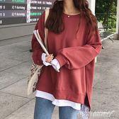 假兩件加絨連帽T恤女韓版潮學生寬鬆2018新款秋冬chic長袖上衣服外套 免運