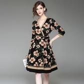洋裝-中袖V領花朵印花大擺女連身裙2色73of38【巴黎精品】