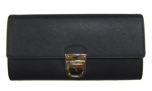~雪黛屋~MK 長夾國際正版保證進口防水防刮皮革二折主袋附品牌證明品牌禮盒防塵套高級品牌提袋