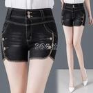 時尚雙扣牛仔短褲女夏季新款韓版顯瘦外穿大碼高腰夏天熱褲子