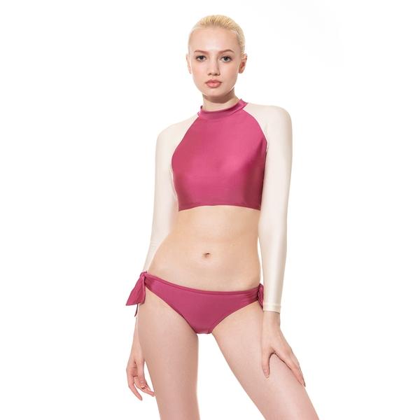 LeRêve Paris-Beaut 短版外罩式長袖泳衣(無棉杯)-莓果紫