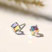 【新飾界】耳環:女簡約個性彩色水晶耳釘
