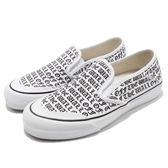 Vans Classic Slip-OnSlip On SF OTW 白 黑 帆布材質 滿版文字 懶人鞋 女鞋【PUMP306】 181060813