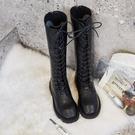 高筒靴 女新品真皮及膝靴系帶長靴過膝瘦瘦靴平底網紅靴子女潮