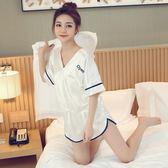 睡衣女夏季絲綢短袖兩件套裝薄款韓版清新可愛性感家居服夏天冰絲