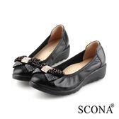 SCONA 蘇格南 全真皮 輕盈鑽飾楔型鞋 黑色 22805-1