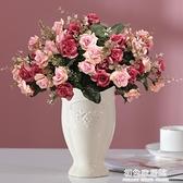 歐式仿真花套裝玫瑰花束裝飾花擺件花瓶插花乾花假花絹花客廳擺設 初色家居館