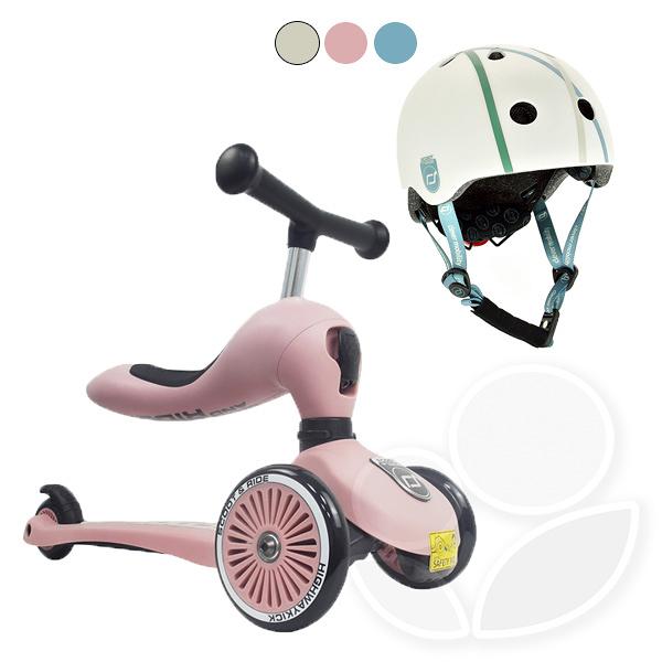 【輸碼折300】【組合】【公司貨】奧地利Scoot&Ride Cool 飛滑步車-玫瑰粉+兒童運動用頭盔 (3色可選)