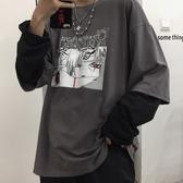 韓版ins復古暗黑擊動漫火影假兩件長袖T恤男女潮 限時熱賣