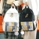 後背包 女少心書包學生正韓雙肩包古著雙肩包百搭可愛帆布背包-小精靈