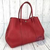 BRAND楓月 HERMES 愛馬仕 T刻 紅色 GARDEN PARTY 36 GP36 皮革 手提包 野餐包
